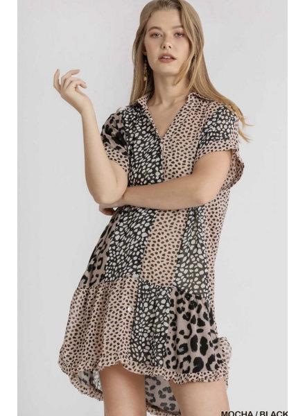 Mocha/Black Mixed Animal Print Collared Dress
