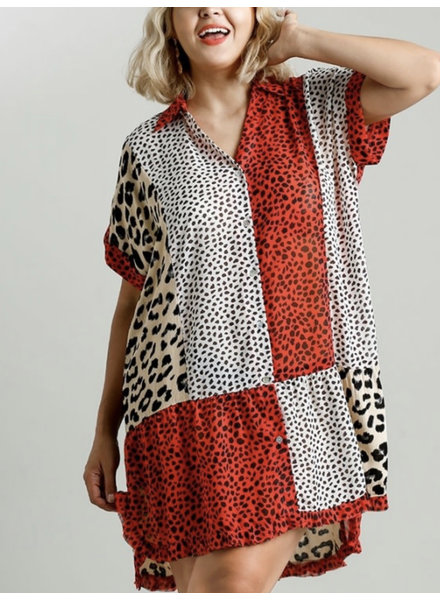 Red/White Mixed Animal Print Collared Dress