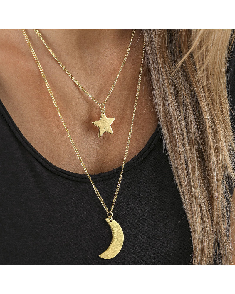 2 CHAIN STAR MOON NECKLACE