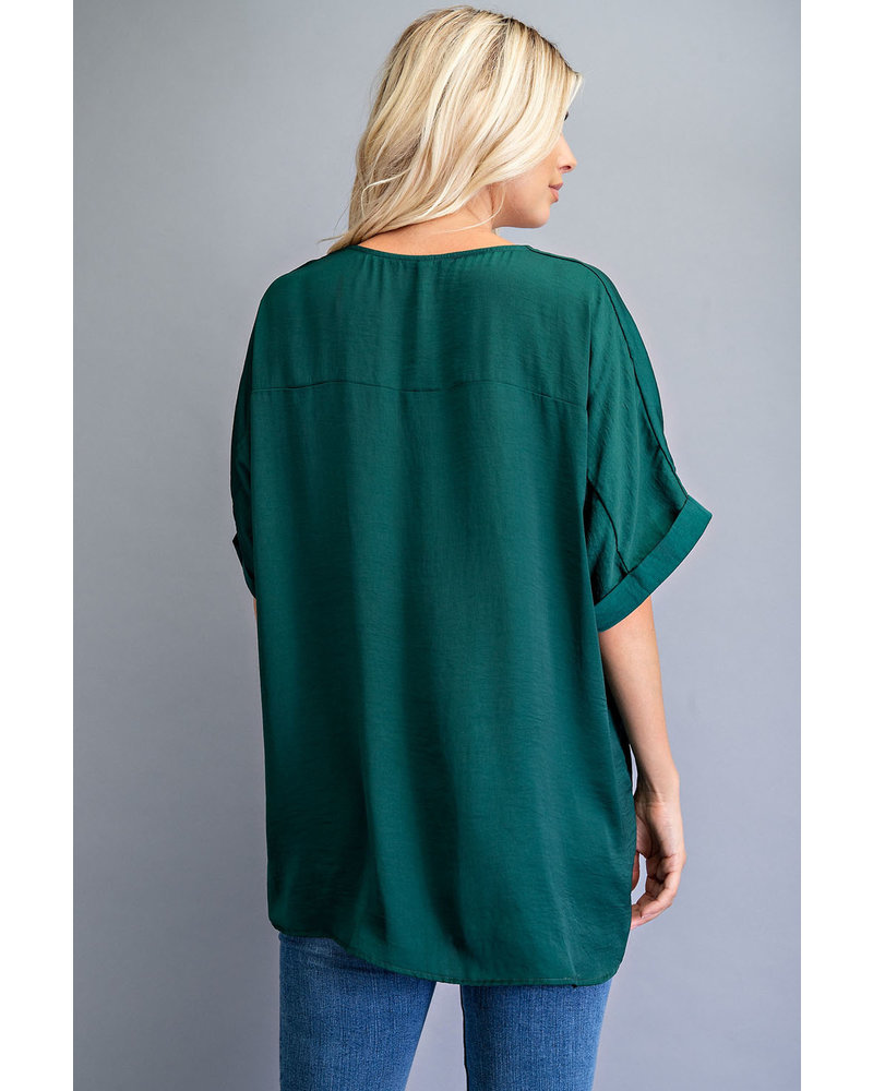 V-Neck High Low Top green