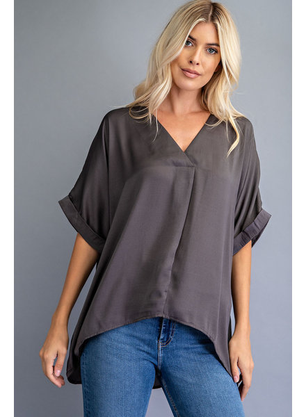 V-Neck High Low Top charcoal