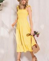 Solid Shoulder Tie Point Tiered Midi Dress