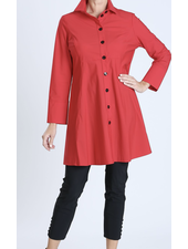 Red Button Front Long Sleeve Flare Jacket