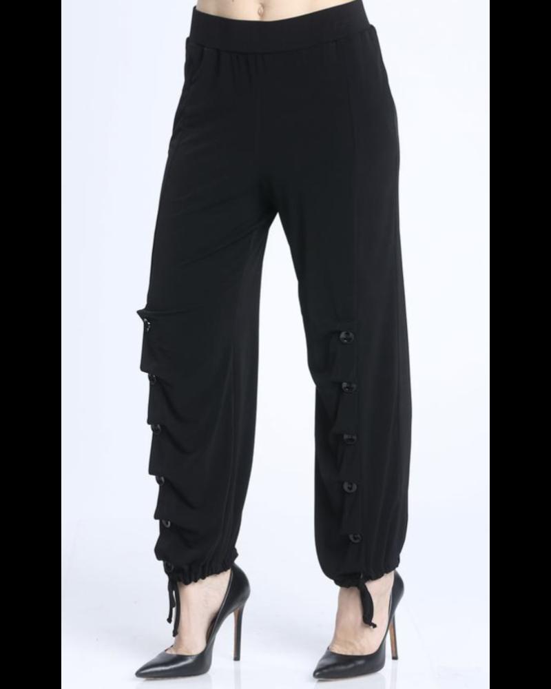 Button Detailed Comfy Pants Black
