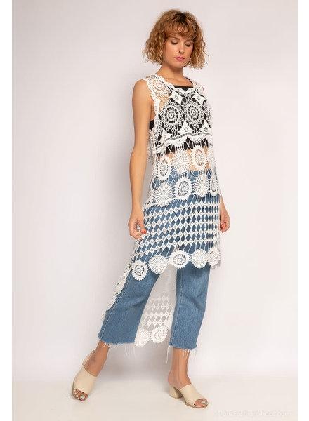 Long Asymterical Crochet Top white