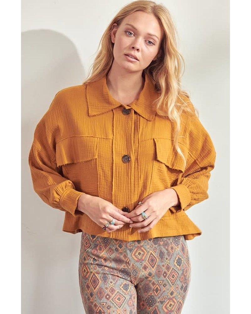 Textured Woven Cropped Shirt Jacket Shacket