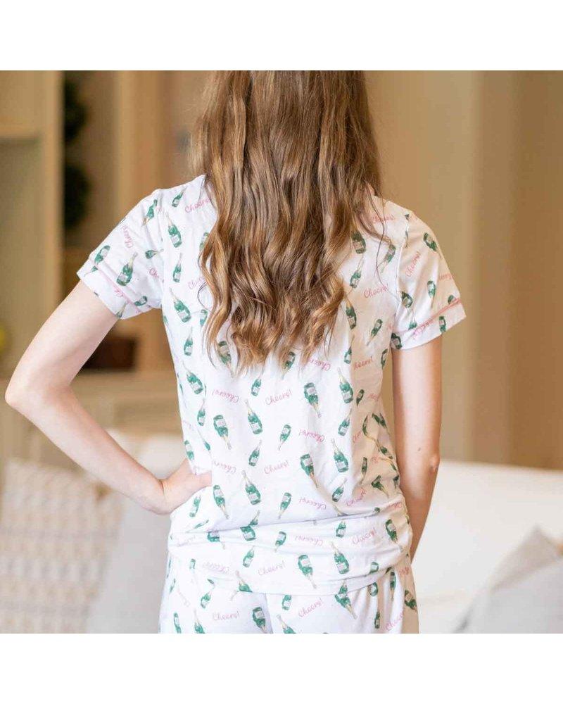 Cheers Short Sleeve Button Up Sleep Shirt