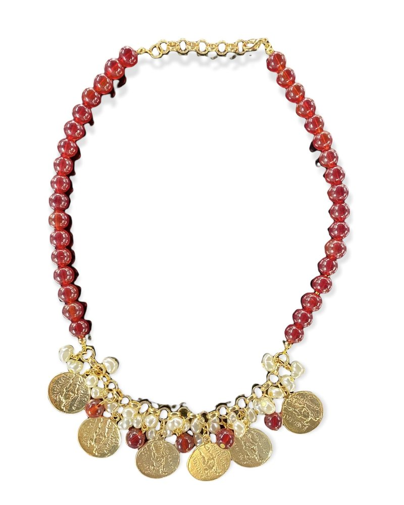 Red With Coins Necklace