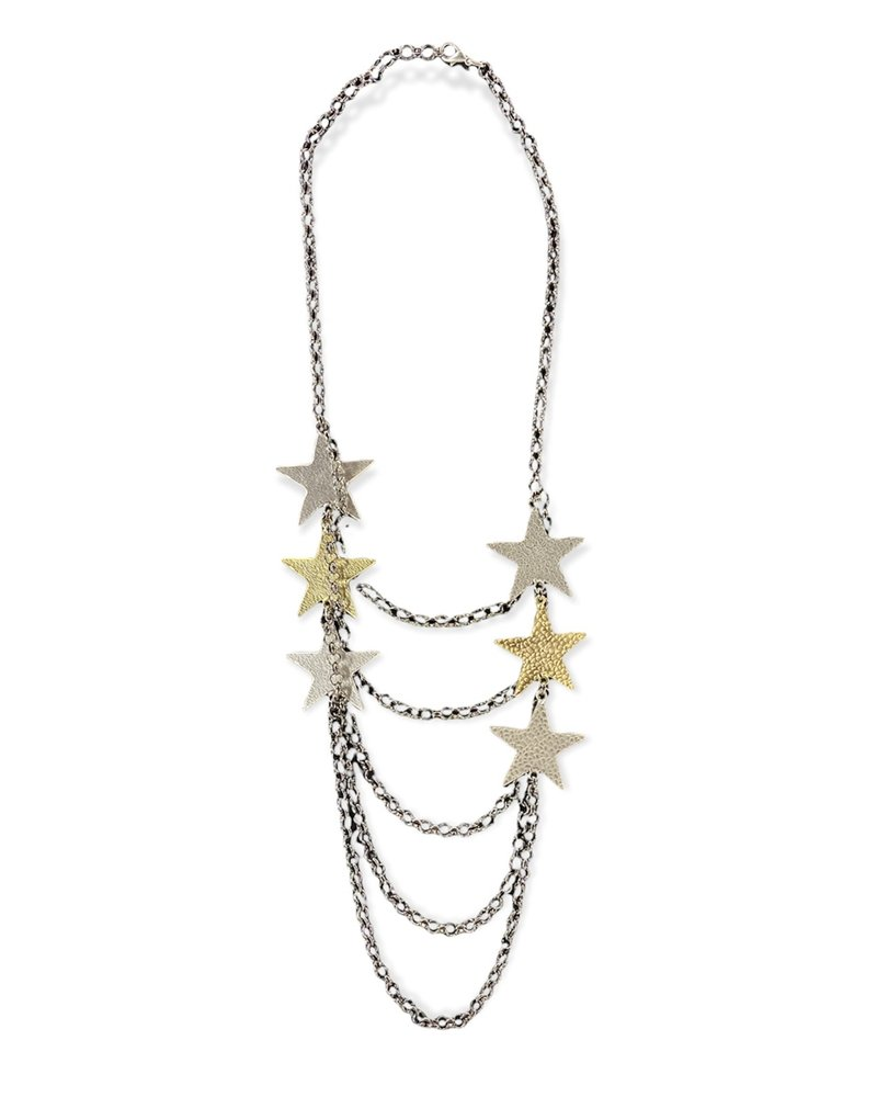 Multi Layers Necklace With Silver And Gold Stars