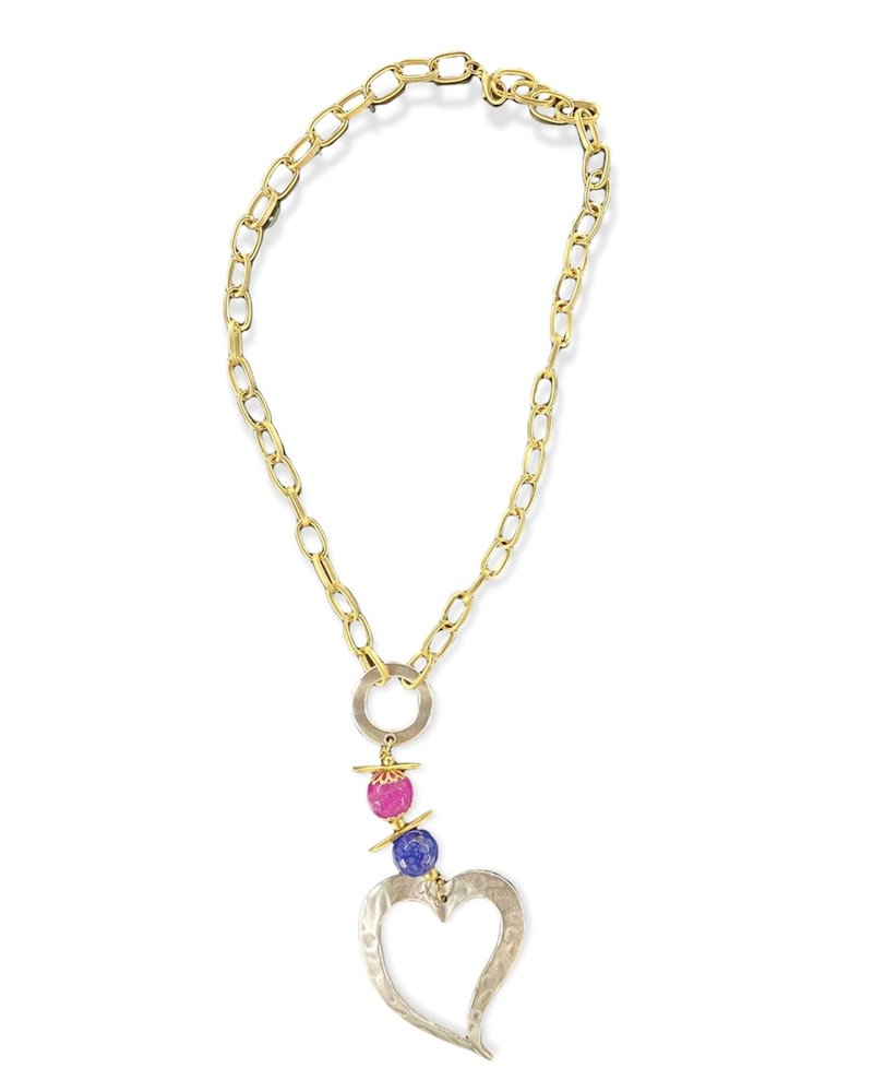 Gold Plated Necklace With Silver Big Heart
