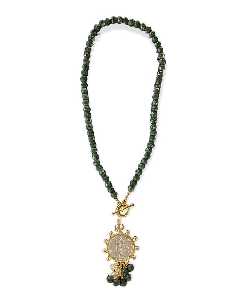 Green Faceted Beads With Medal Necklace