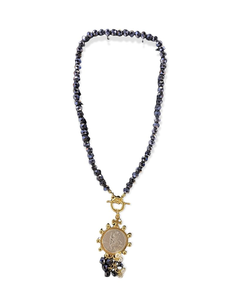 Blue Faceted Beads With Medal Necklace