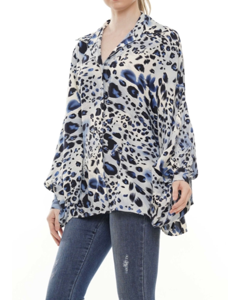 Blue animal print blouse