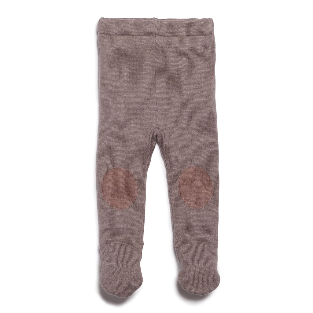 SMOKE GREY KNITTED LEGGING WITH FEET - 6-12 months