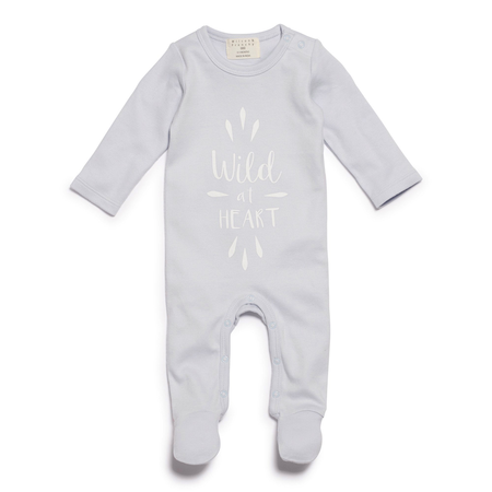 WILD AT HEART GROWSUIT WITH FEET BLUE - 1-3 months