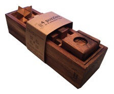 4 Puzzles In A Wooden Box