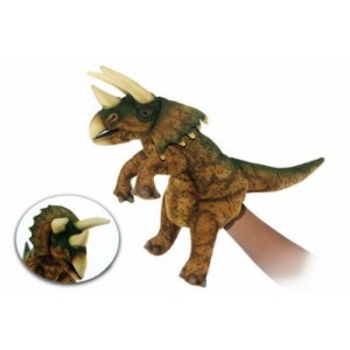 TRICERATOPS PUPPET (BROWN/GREEN) 43CM L