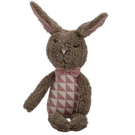Plush bunny brown.rose ,off white