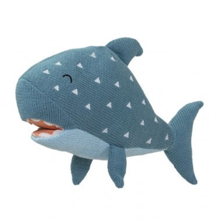 Knitted Toy Shark Green Cotton
