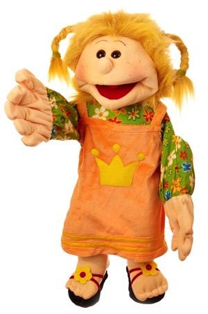 Jenny Madchen mit geflochtenen Zopfen Handpuppe 65cm Living Puppets
