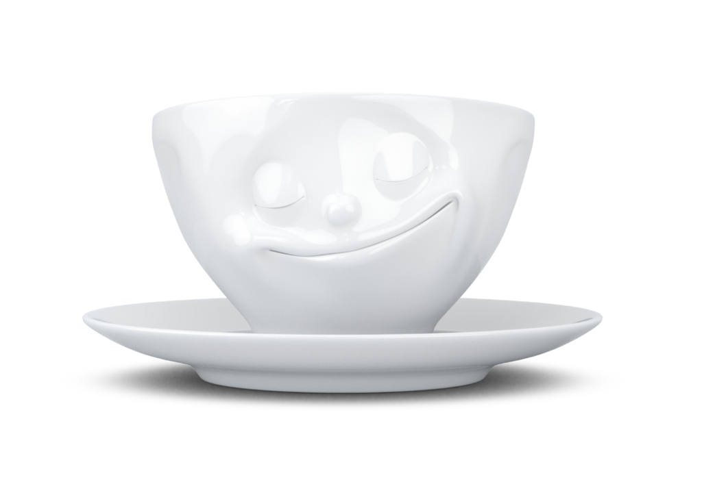 "Coffee cup ""Happy"" white"