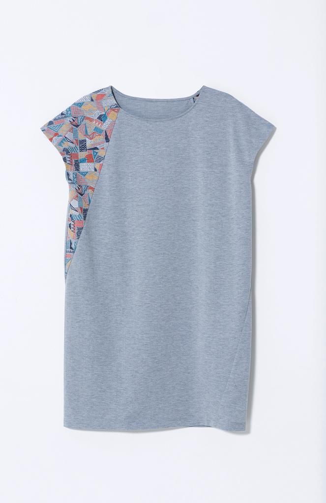 S Grey Embroidered Borduren Jersey Dress