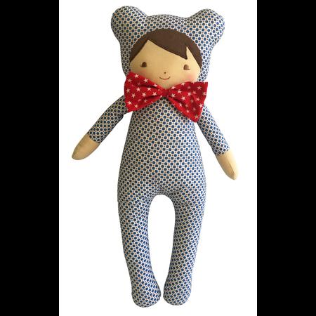"""Baby in Bear Suit 17"""" Blue Dottie"""