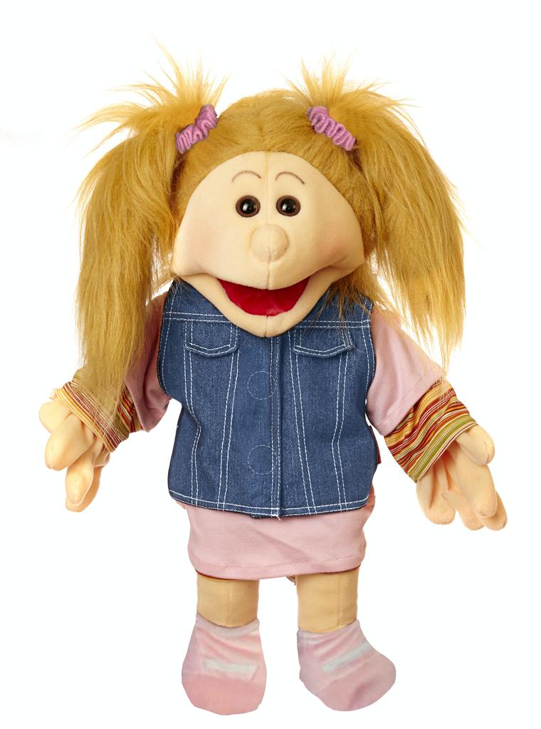 Fibi, mit rosa Shirt und Jeansweste Handpuppe 45 cm Living Puppets