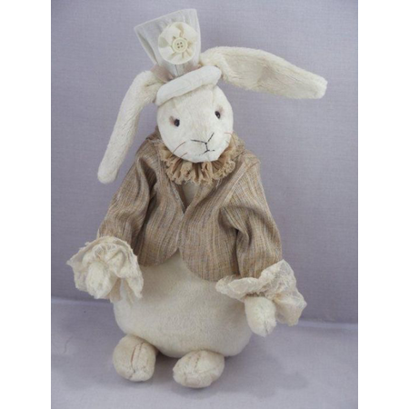 Rabbit K. Ninchen, high quality soft plush, color: white 5-fold jointed, Design: Martina Lehr, limited edition: 333 pcs