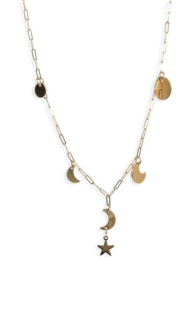 Long Moon Phase Necklace - Gold