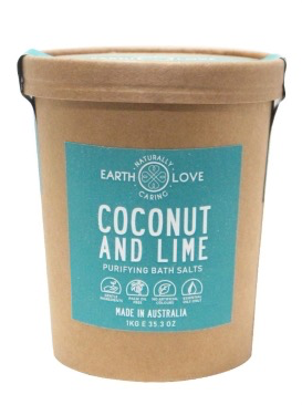 EARTH LOVE 1KG BATH SALTS -COCONUT & LIME SEASALT