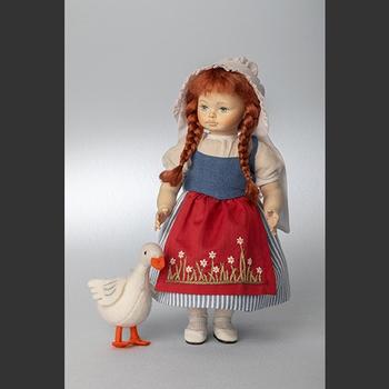 Wooden doll Goose Girl 25cm