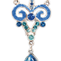 Silver & Blue Art Nouveau Necklace with Faux blue Opal