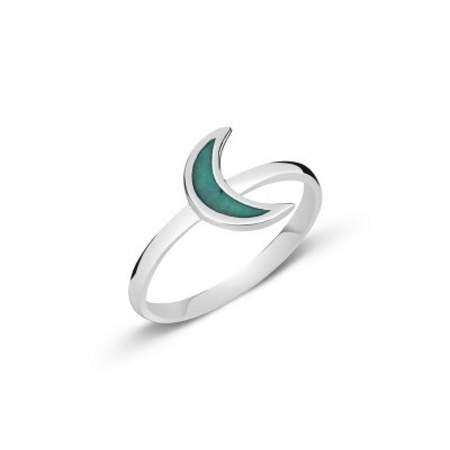 Sterling Silver Turquoise Moon ring