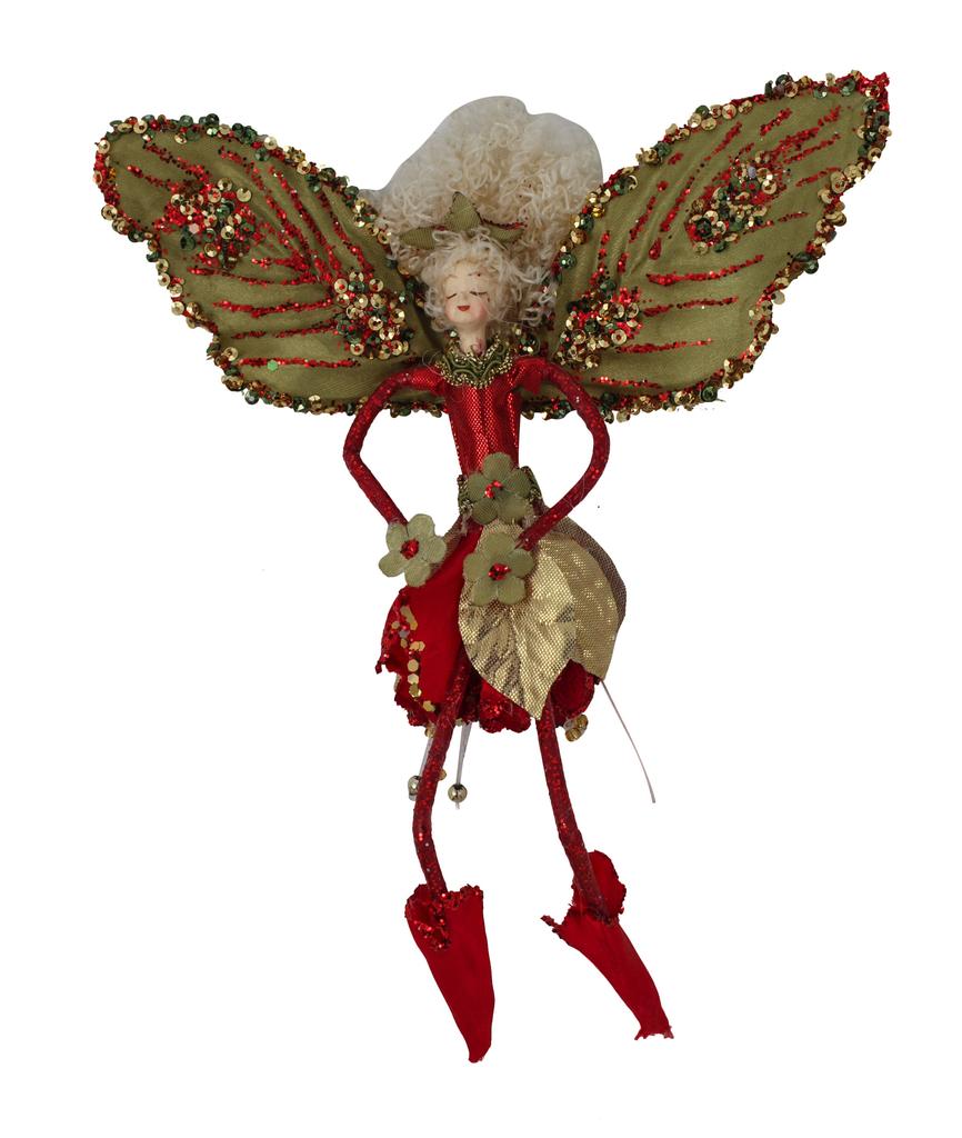 Red/sage Fairy Hanging 19cm