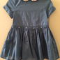 Camellia Dress - Denim w/ Libery Teal Collar 36m