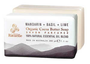 EQ 200gm Organic Cocoa Soap Basil Mandarin & Lime
