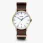 CLUSE Aravis Nato Leather Gold White/Dark Brown