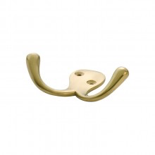 Robe Hook Double Polished Brass H75xP30mm