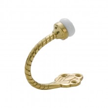 Robe Hook Porcelain Tip Rope Polished Brass H60xP75mm