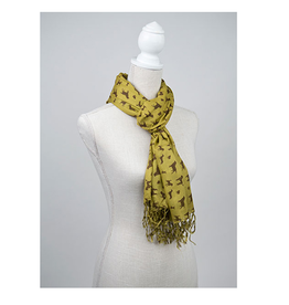 "100% Rayon Scarf Printed Dog Breeds"" Chartreuse/Brown 28x72"""
