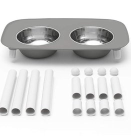 Messy Mutts Messy Mutts Elevated Double Feeder with Stainless Steel Bowls Grey