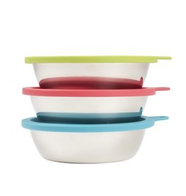 Messy Mutts Messy Mutts 6pc 3 Bowl Set 3 Stainless Steel Bowls and Lids Medium