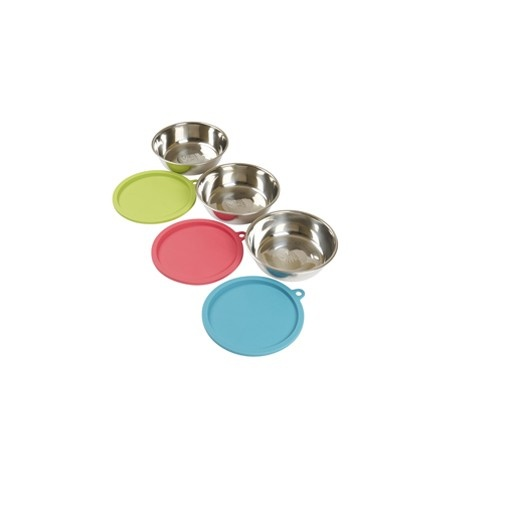 Messy Mutts Messy Mutts 6pc 3 Bowl Set 3 Stainless Steel Bowls and Lids Large