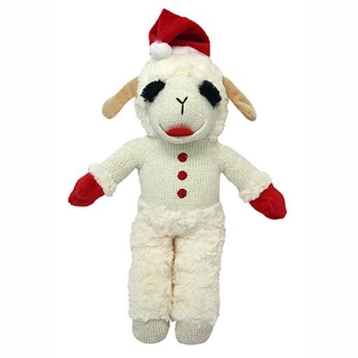"MultiPet Holiday Standing Lamb Chop w/Santa Hat 8"""