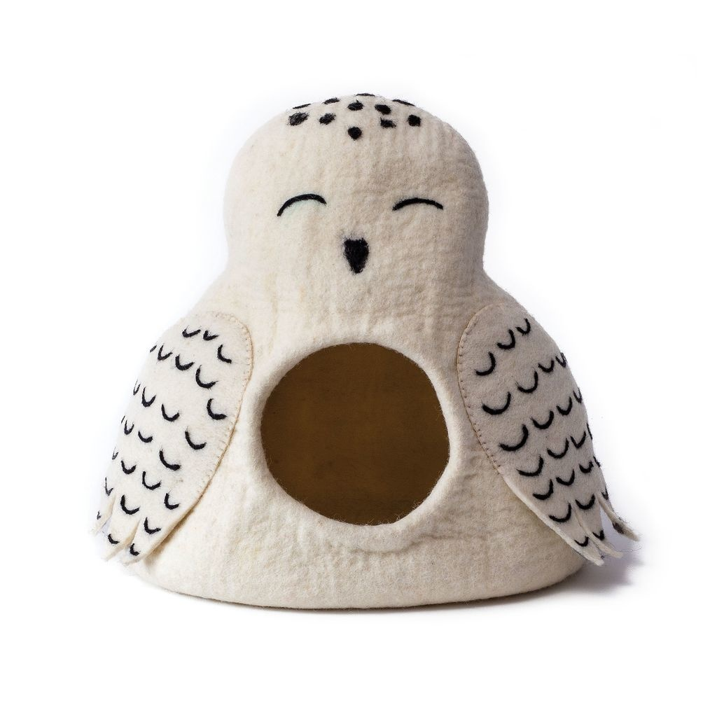 Dharma Dog Karma Cat Dharma Dog Karma Cat Wool Felt Snowy Owl Cave White