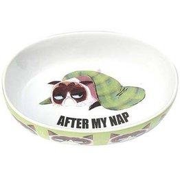 """Petrageous Petrageous Grumpy Cat After My Nap Green 7"""" Bowl 2 cups"""