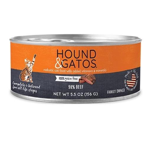 Hound & Gatos Hound & Gatos Cat Can 98% Beef 5.5oz