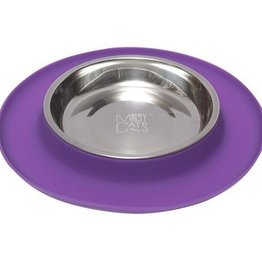 Messy Mutts Messy Cats Single Silicone Feeder with Stainless Saucer Bowl 1.75 Cups Purple