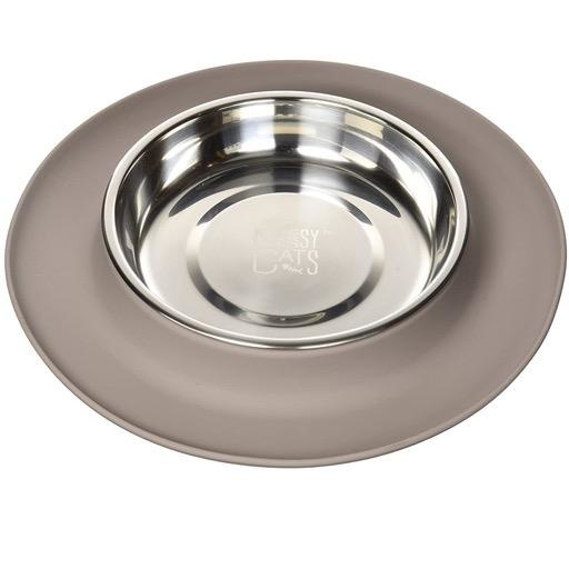 Messy Mutts Messy Cats Single Silicone Feeder with Stainless Saucer Bowl 1.75 Cups Grey